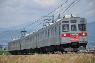 2011年7月14日 長野電鉄長野線 柳原~村山 8500系T6編成 モンハン前掛けつき