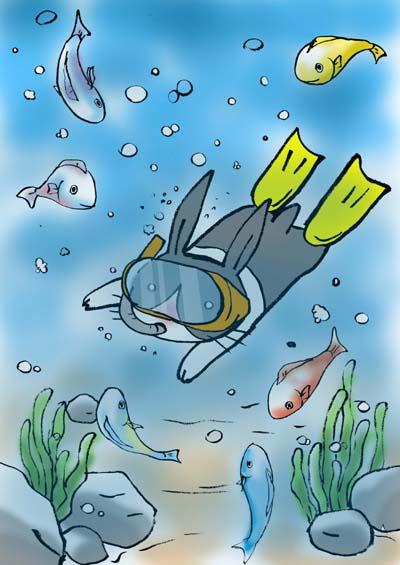 海とうさぎと魚
