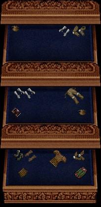 上段:緑インゴットか赤皮で強化用 / 中段:金インゴットか青皮で強化用 / 下段:緑皮で強化用