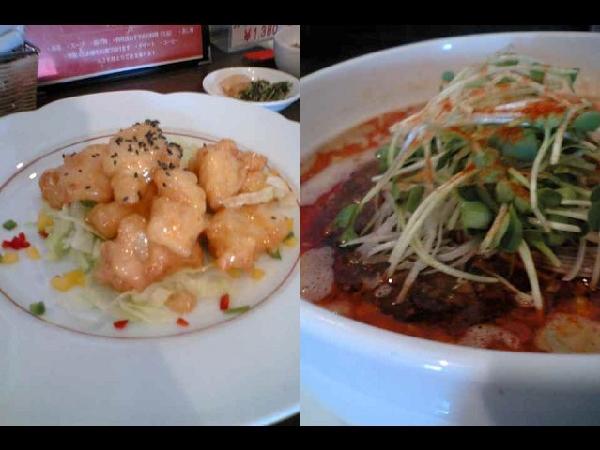 坦坦麺とイカ