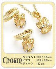 ゴールドネックレス&ピアスセット『Crown』