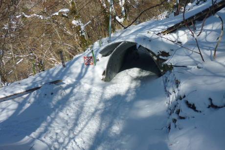 リフト下のトンネルまで下山