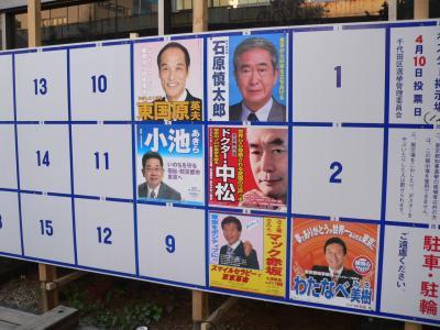 写真キャプション=東京で見かけた知事選の選挙ポスター掲示板