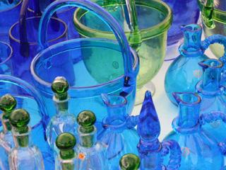 琉球ガラスのアイスペールとポット